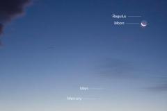 Congiunzione Mercurio, Marte, Luna, Regolo, Venere